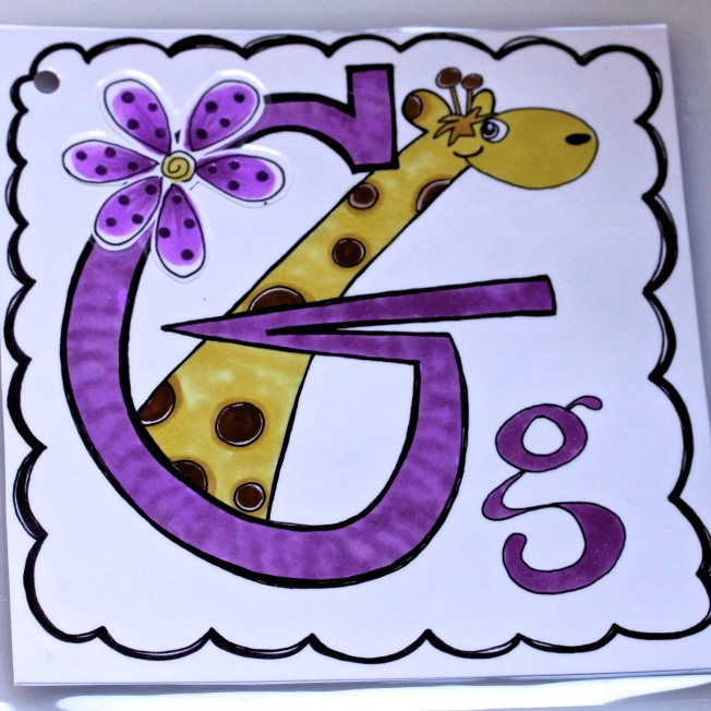 The letter G in a series of alphabet letters mailed daily to Granddaughter Annabelle  found at 1ArtHouse.wordpress.com