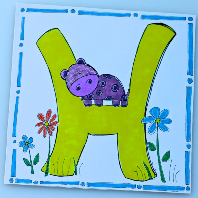 Annabelle's Alphabet /The letter H in a series of alphabet letters mailed daily to Granddaughter Annabelle  found at 1ArtHouse.wordpress.com