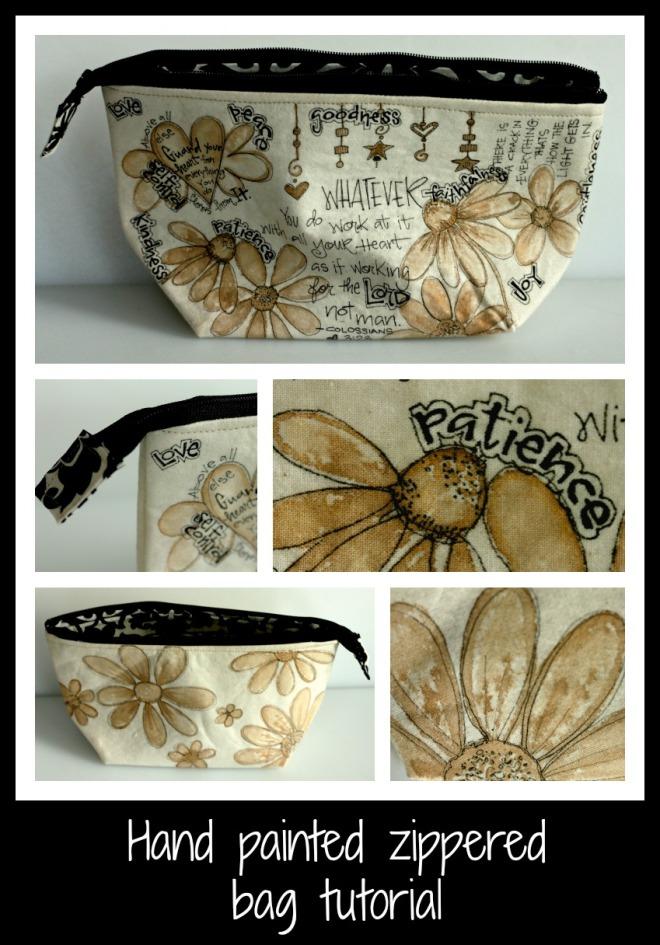 Hand Painted Make-Up Bag Tutorial w/Lindystampgang Moon Shadow Ink