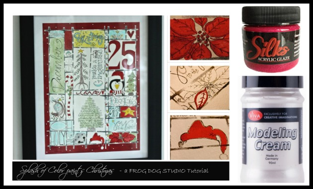Christmas Art with Luminarte Silks, Modeling Cream, and Catherine Scanlon Grid Stencil