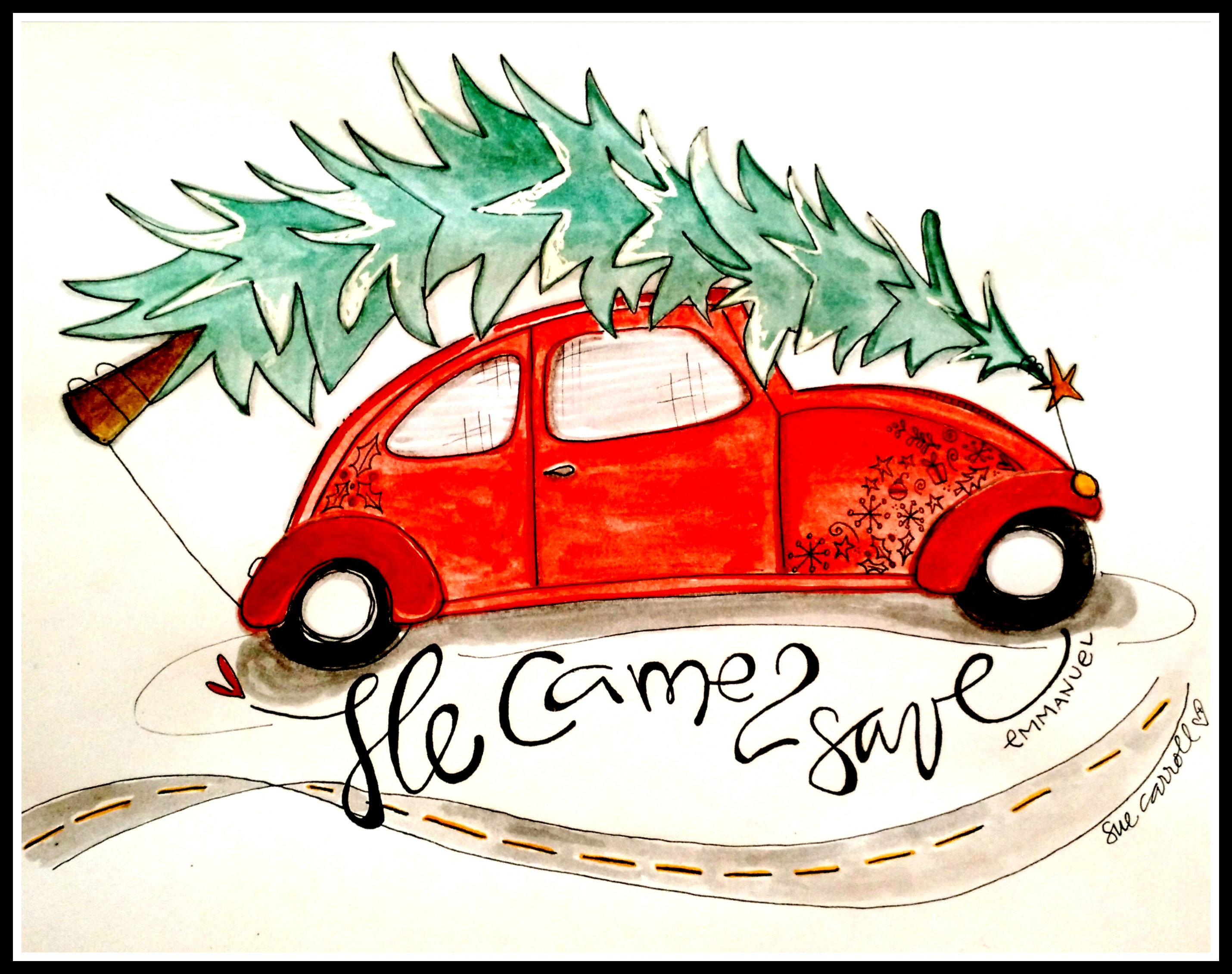 Christmasbug:watercolor/SueCarroll