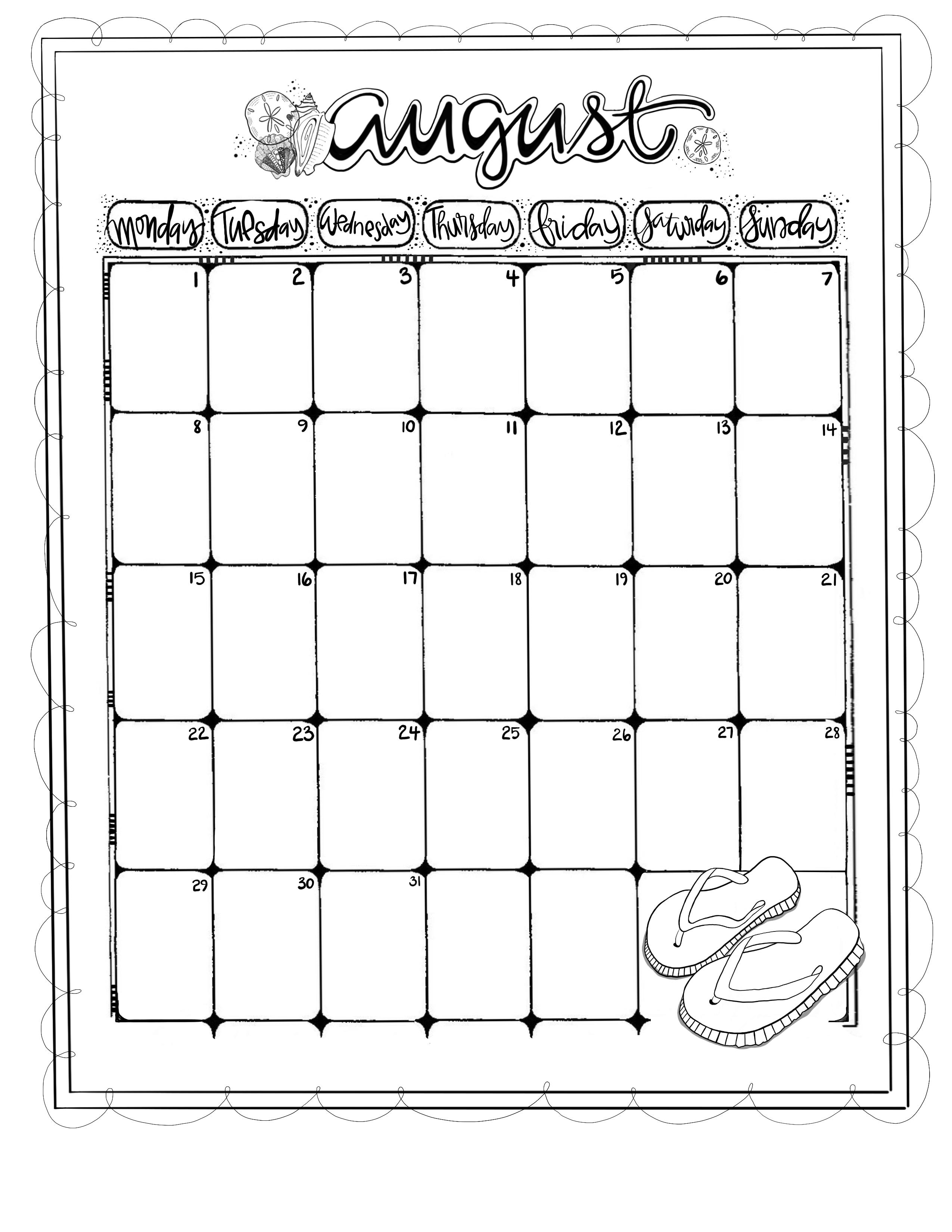Journaling Calendar/AUG/ Sue Carroll/ png