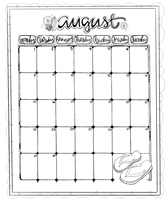 Journaling Calendar/AUG/ Sue Carroll/ png