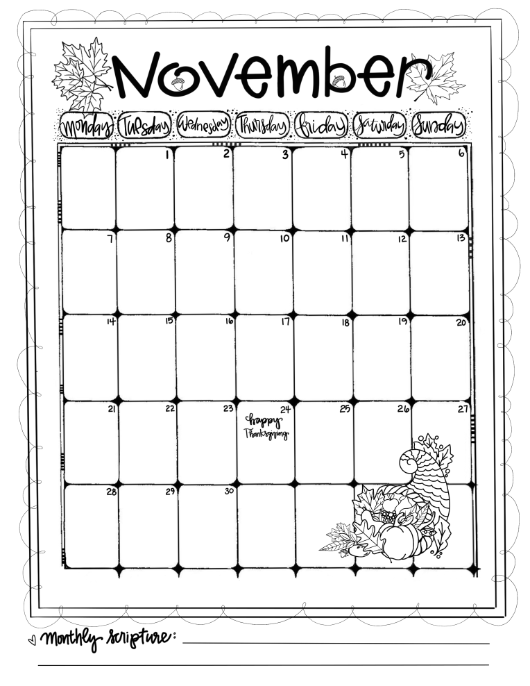 Journaling Calendar/NOV/ Sue Carroll/ png