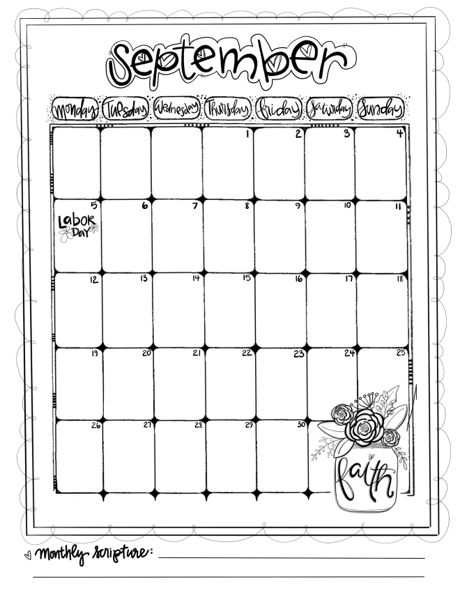 Journaling Calendar/Sept/ Sue Carroll/ png