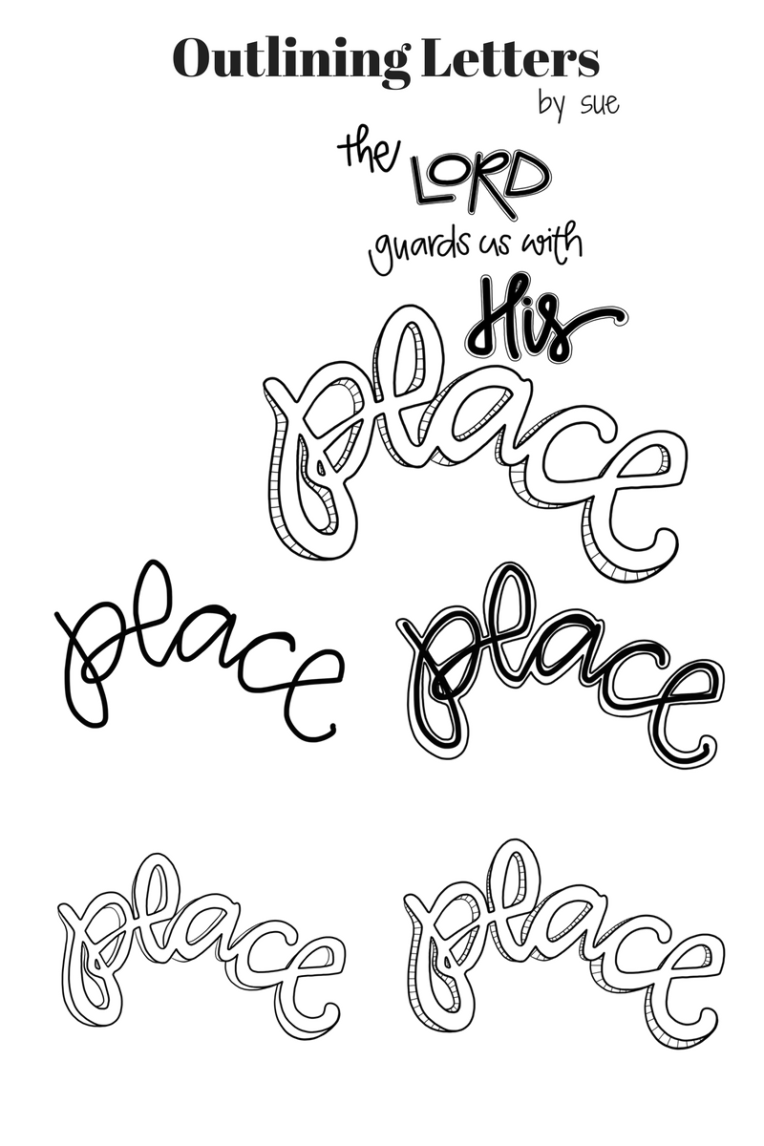 Free Coloring Page / outlining letters / Sue Carroll