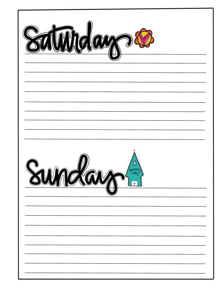 WEEK AT A GLANCE/ FREE PRINTABLE / SUE CARROLL
