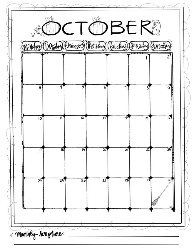 Journaling Calendar/Oct/ Sue Carroll/ png